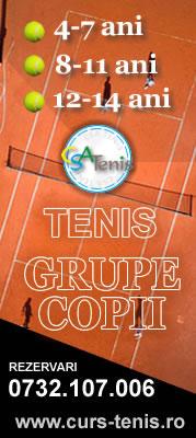 Cursuri tenis - Grupe copii cu antrenor licentiat
